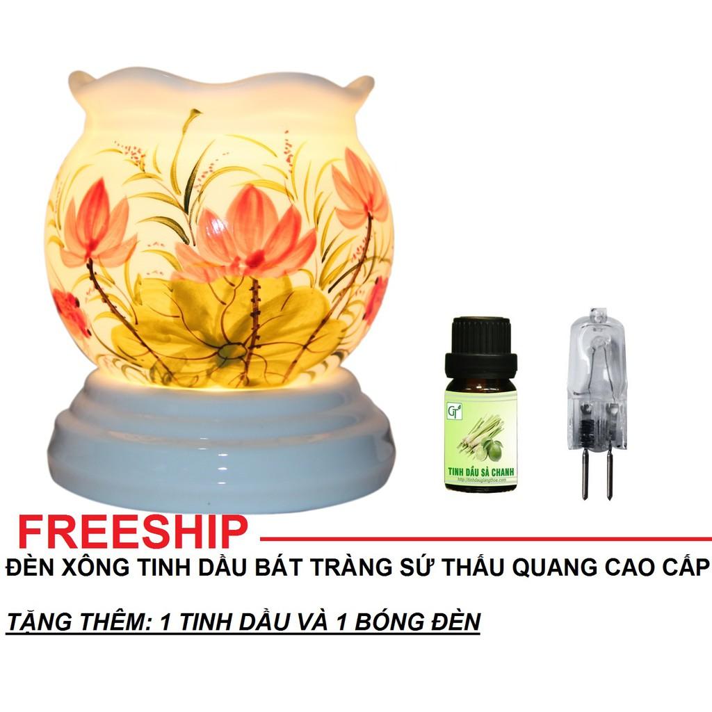 Đèn xông tinh dầu Bát Tràng size 15x10cm tặng 1 tinh dầu và 1 bóng đèn thay thế (chọn tinh dầu)