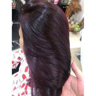 Thuốc nhuộm tóc màu tìm trầm Kami, tặng kèm trợ nhuộm và phục siêu dưỡng và phục hồi tảo biển.