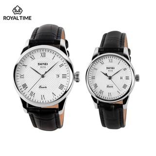 [Tặng vòng tay] Đồng hồ đôi SKMEI chính hãng SK9058 dây da chống nước cao cấp