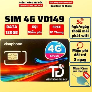 Sim 4G Vinaphone VD149 Data 120Gb/tháng – VD89 Data 60Gb/tháng, Sim Nghe Gọi 12 Tháng Không Cần Nạp Tiền, Giá rẻ