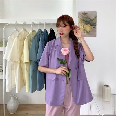 [Mã WACB21 hoàn 20% tối đa 50K xu đơn 99K] Áo Khoác Blazer Tay Ngắn Dáng Rộng Màu Trơn Phong Cách Hàn Quốc