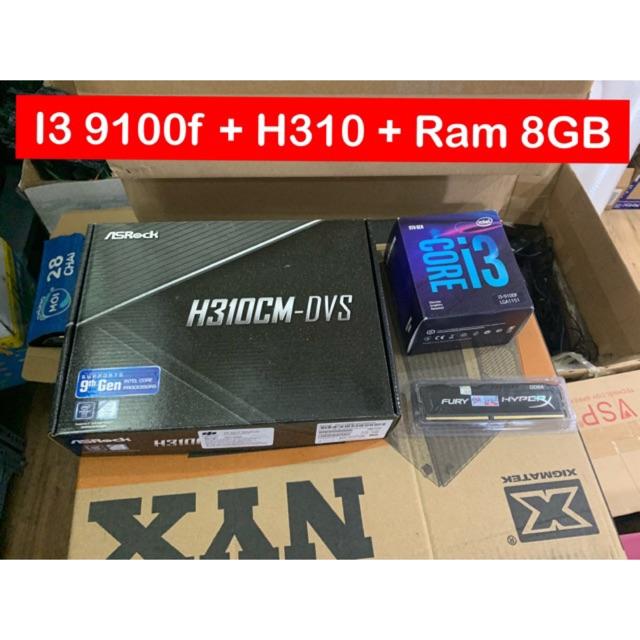 Combo i3 9100f + Main H310 + Ram 8GB New bảo hành 36 Tháng