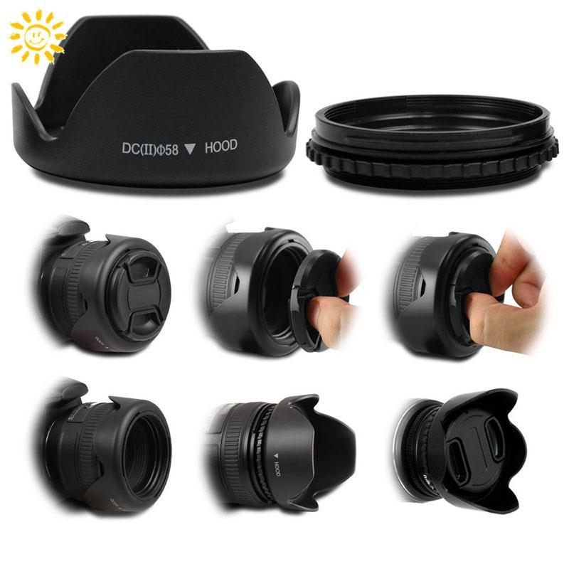 SY Hood hình hoa 58mm cho máy ảnh Canon Nikon Sony