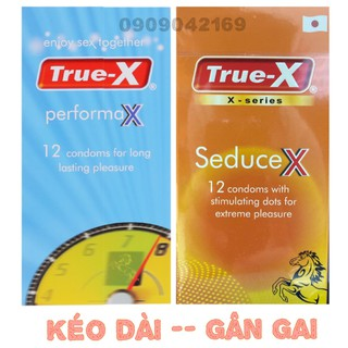 Bộ Đôi Bao cao su Kéo Dài True-X PerformaX- Extra -- Gân Gai Nổi True-X SeduceX - Xúc cảm mãnh liệt 2hộp 24cái thumbnail