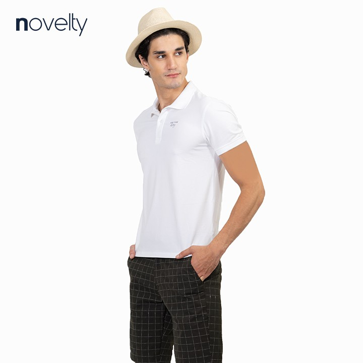 Áo thun Polo trơn màu trắng in họa tiết ngực NOVELTY 191163N