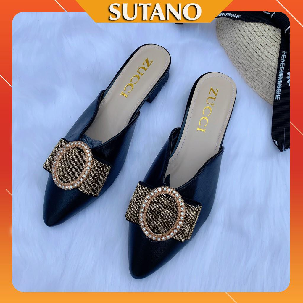 Giày sục nữ thời trang cao cấp đính nơ khóa ngọc tròn sanh chảnh S221 SUTANO