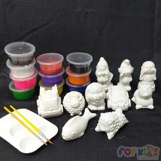 Bộ 10 tượng tô màu cho bé tặng màu-vỉ-cọ