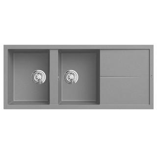 Chậu rửa bát đá KONOX Granite Series Livello 1160 Grey, Made in Italy, Full set gồm Siphon + Giá úp bát inox