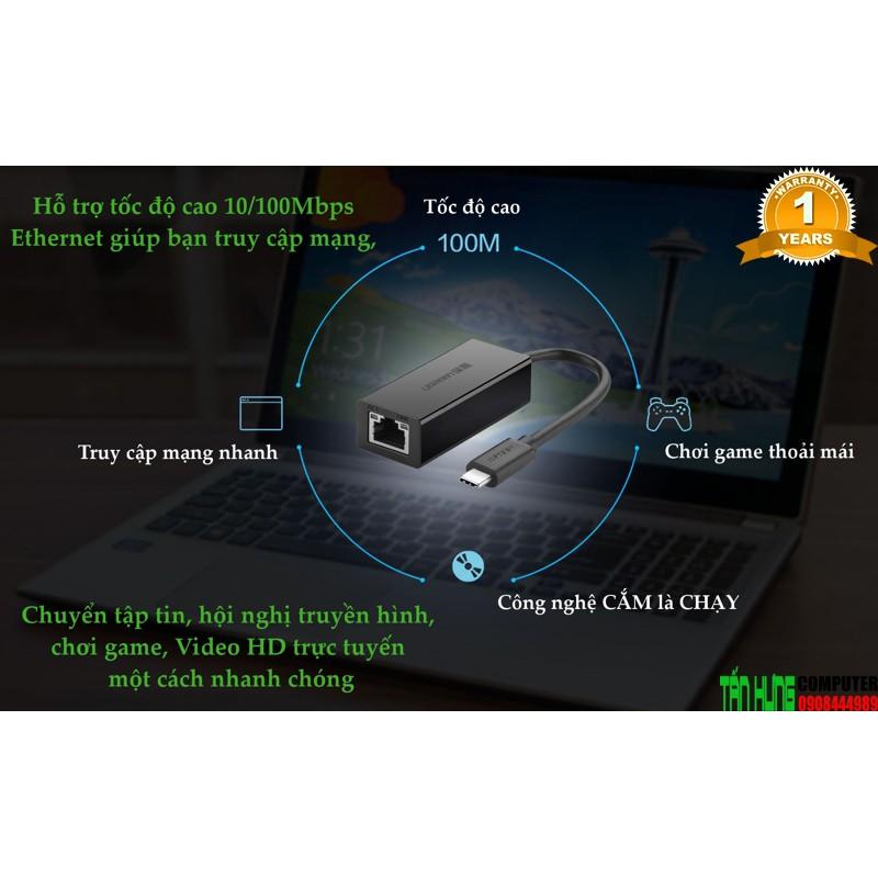Cáp chuyển USB TYPE C to LAN Ugreen 30287 Cao Cấp Chính Hãng UG 30287