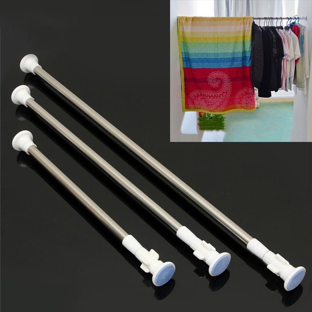 Thanh treo rèm cửa inox chân tròn không cần khoan giá rẻ HT04 (50cm đến 2m6)
