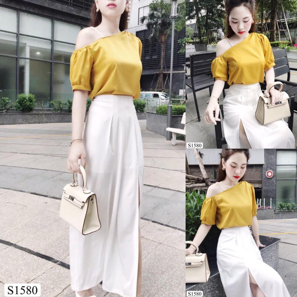 Sét áo trễ vai vàng chân váy trắng trơn S1580 - Đầm thiết kế DVC Kèm ảnh thật