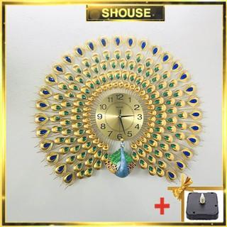 [Size 90cm] Đồng hồ treo tường con chim công Shouse A888 tặng máy đồng hồ kim trôi