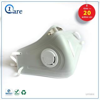 Khẩu trang nhựa đa năng 1Care Pro lọc bụi mịn PM5.0, kháng nước chống nắng 100%. Khẩu trang nhựa màu xám khói thumbnail