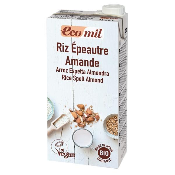 Sữa gạo, lúa mỳ và hạnh nhân hữu cơ không đường Ecomil 1L