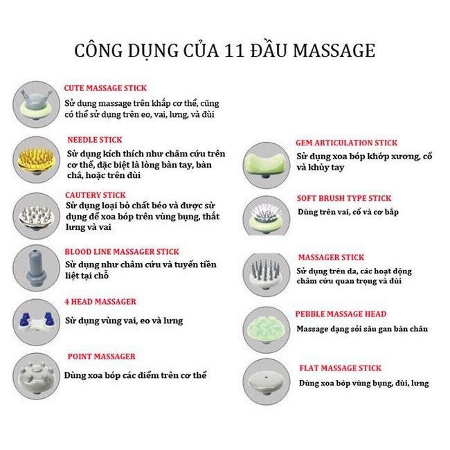 Máy Massage Cầm Tay 11 Đầu Nhật Bản - Gậy Đấm Lưng Giảm Đau Nhức Vai Gáy, Toàn Thân