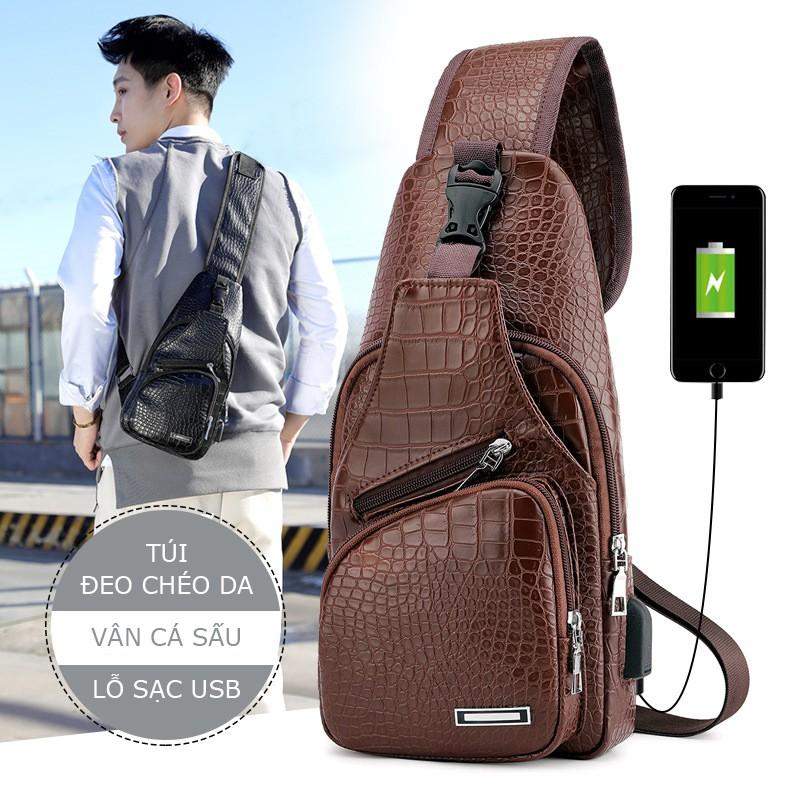 Túi đeo chéo nam, đeo ngực nam da, cổng sạc có chỗ gắn sạc tai nghe BE90