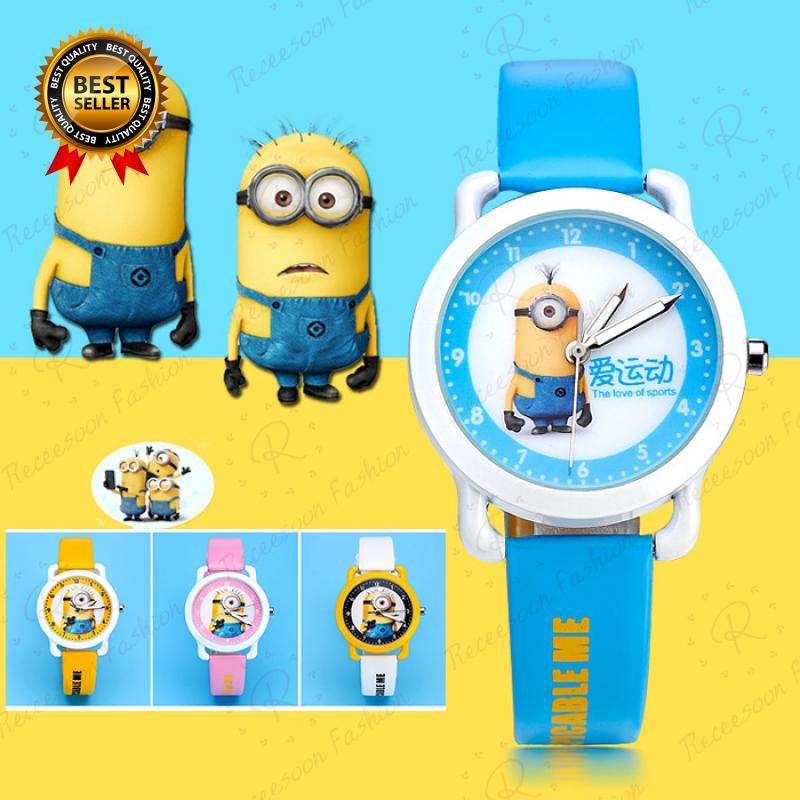 Đồng hồ đeo tay mặt trang trí hình Minion dây đeo da đáng yêu cho trẻ em thumbnail