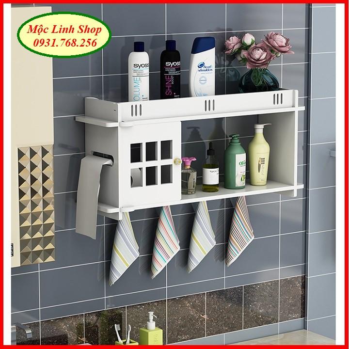 Kệ treo tường nhà tắm có ngăn giấy bằng nhựa DIY