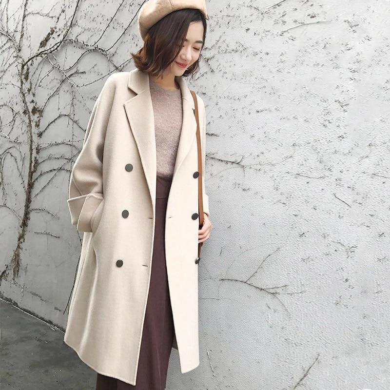 Áo khoác dạ nữ dáng dài cực thời trang diện thu đông đi Đà Lạt hay Sa Pa đều đẹp kèm ảnh thật