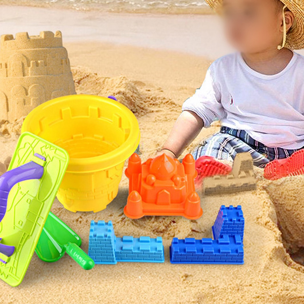 6pcs Sand Castle Mould Kit for Kids Bucket and Spade Beach Holiday Sandpit Toys