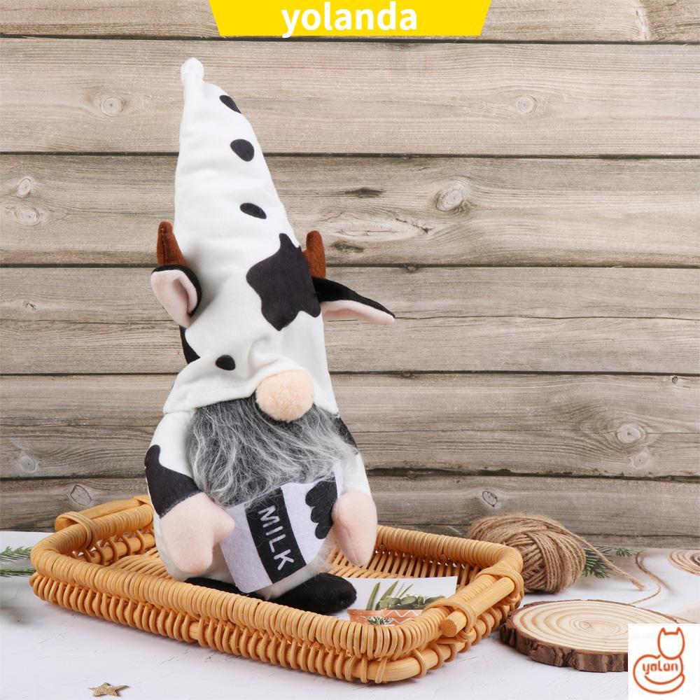 ☆YOLA☆ Cartoon Cow Cow Elf Outdoor Ornaments Gnomes Faceless Doll Gnomes Plush Home&Living Garden Supplies Home Decoration Tray Display Farmhouse Decor Scandinavian Swedish