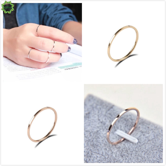 Nhẫn đeo tay chất liệu thép Titan thời trang Hàn Quốc đơn giản