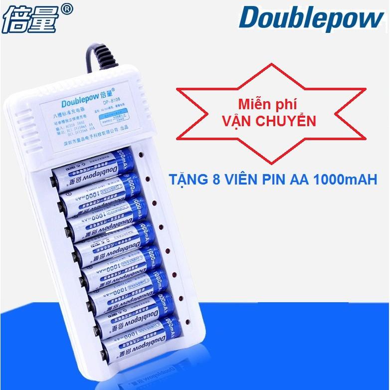 Bộ sạc pin 8 khe đa năng Tặng 8 viên pin sạc AA 1000 mAh Doublepow chính hãng