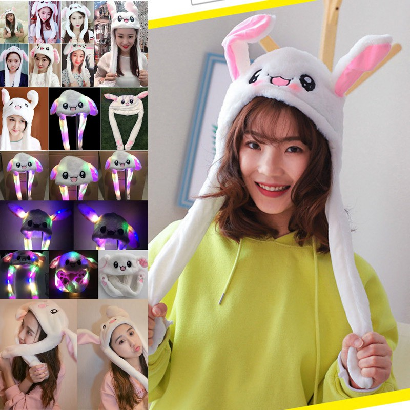 AB Rabbit Ear Hat Can Move Airbag Magnet Cap Plush Toy Gifts @TH