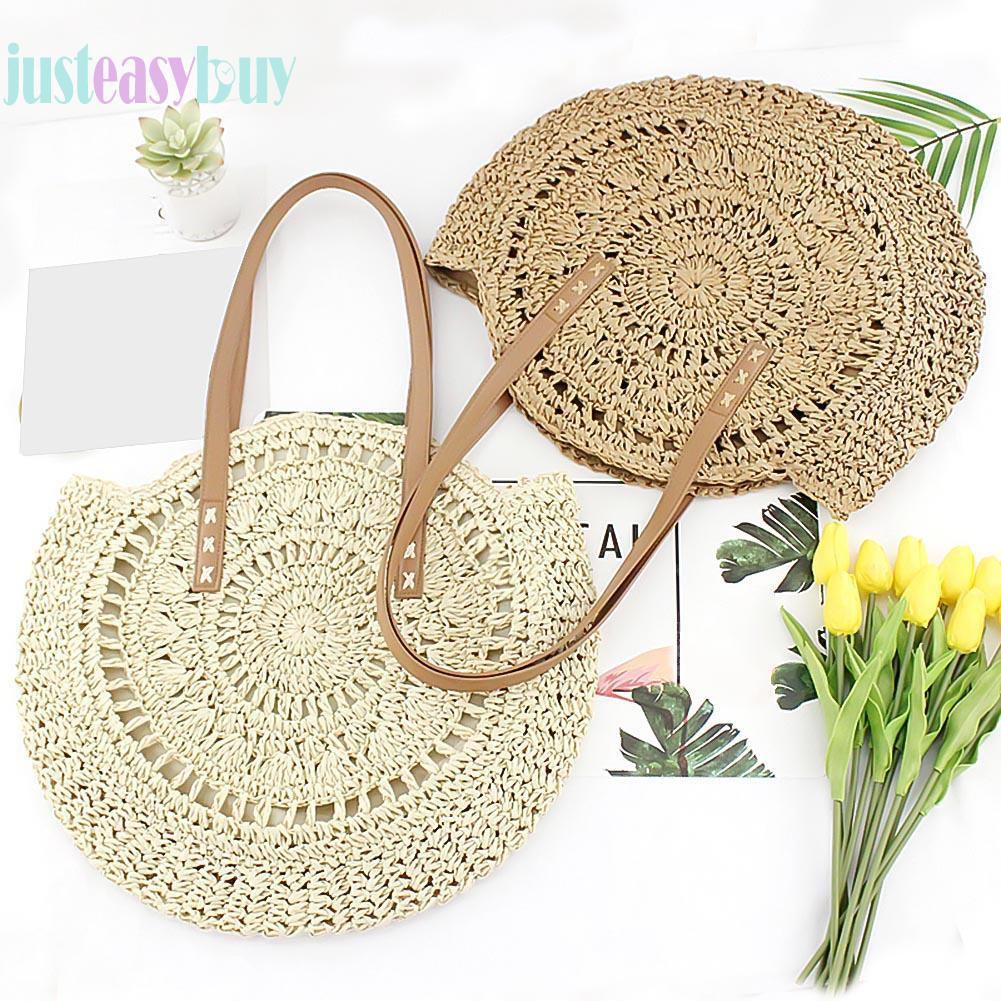 ღRound Woven Hollowed Shoulder Handbags Women Beach Knitted Shopping Totes