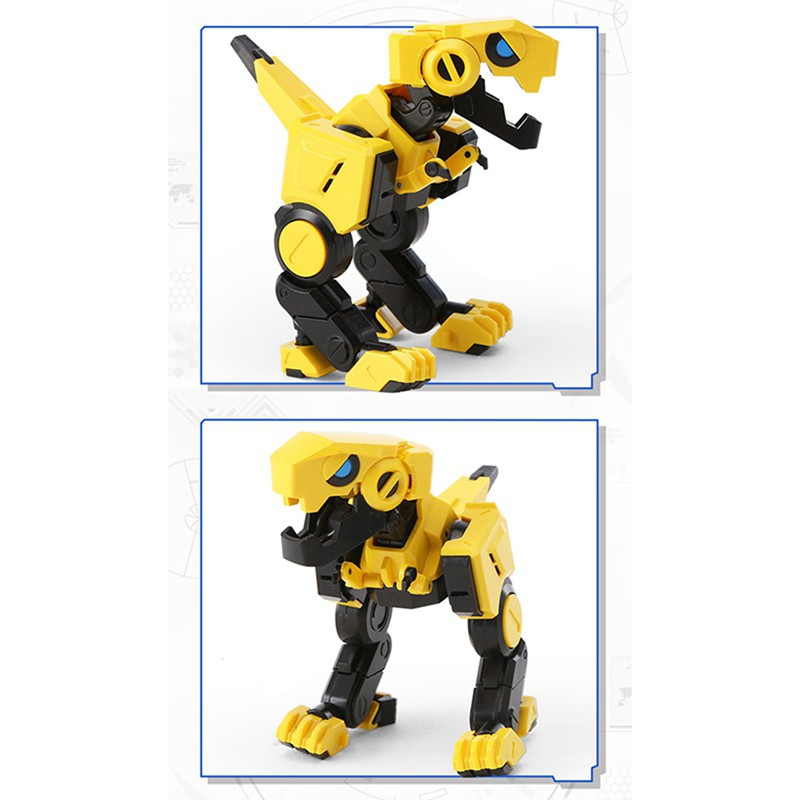 2 Pcs Deformable Dinosaur 3 Colour Little Dinosaurs TOY Movable Joint Tyrannosaurus Rex Transform Animal,Pink & Yellow