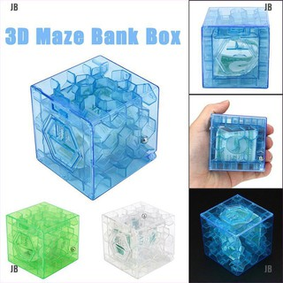 JB&3D Cube puzzle money maze bank saving coin collection case box fun brain game