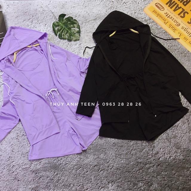 Set bộ thể thao 3 món áo khoác hoodie kèm áo 2 dây và quần sooc ống rộng
