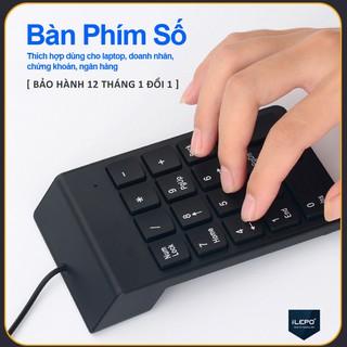 Bàn phím số có dây có 18 phím cơ bản, đa năng dùng cho laptop, Mac Book Air/Pro, smartphone, bảo hành 12 tháng G1