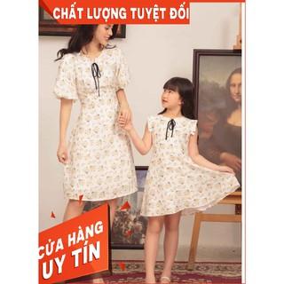 Váy đôi mẹ va bé gái hoa nhí dáng xòe chất lụa mát cho mùa hè ( sét đôi 2 mẹ con)