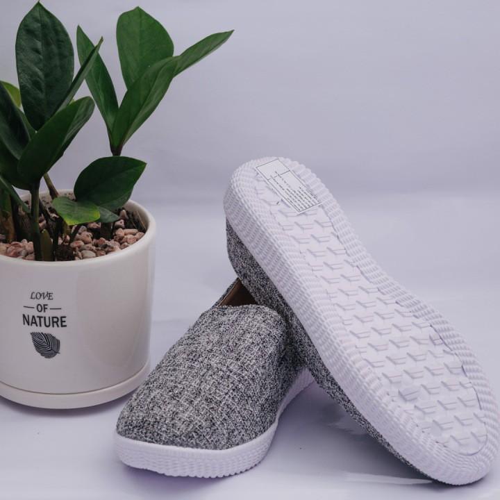 $$$^&^ Giày Lười Bố Xám Thời Trang Ảnh Thật