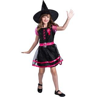 Trang Phục Hóa Trang Halloween Nhân Vật Phù Thủy Màu Hồng Cho Nữ