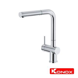 Vòi rửa bát rút dây KONOX KN1337 hợp kim đồng 61% tiêu chuẩn Châu Âu CW617N, bề mặt xử lý công nghệ PVD Chrome 5 lớp