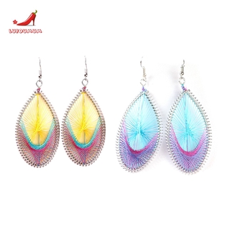 □*2 Pairs of Handmade Oval, Exaggerated Silk Thread Earrings