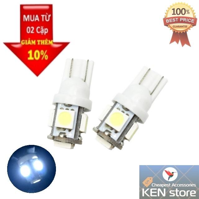 Cặp 2 bóng LED T10 đèn xi nhan, đèn demi 5 chip smd