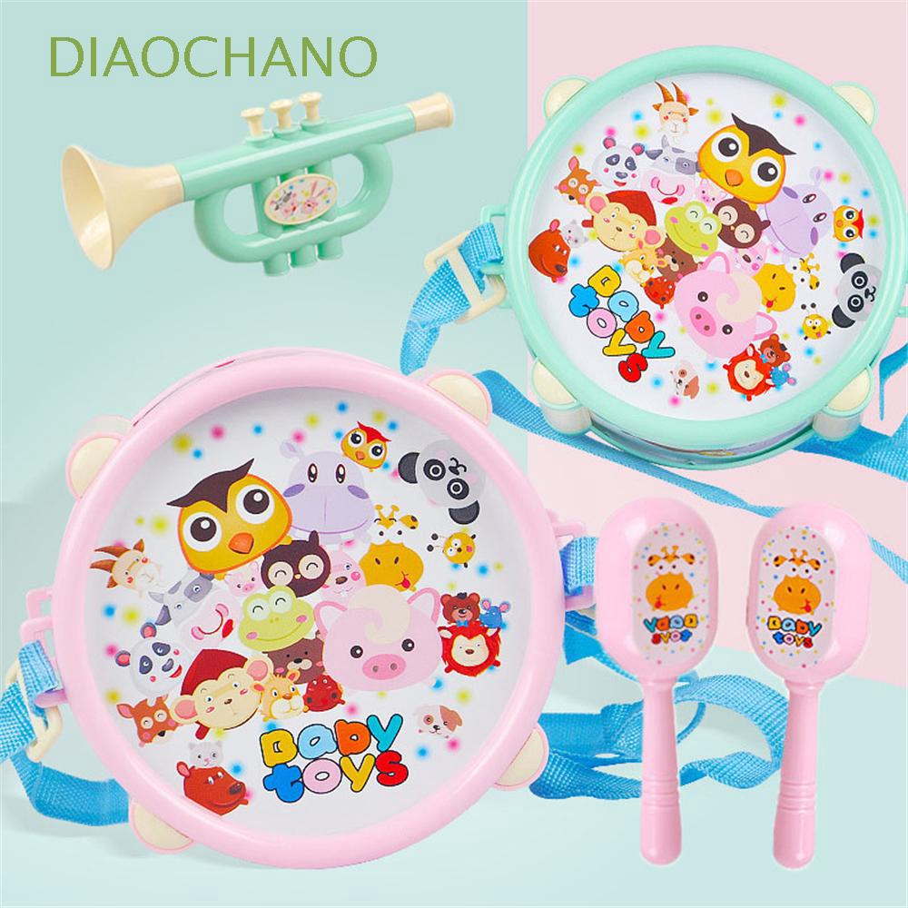 6pcs/set Cartoon Playing Baby Gift Early Educational Hand Grasp Bell Drum Toys