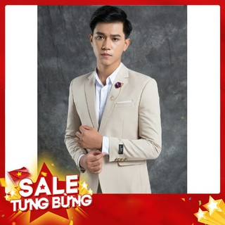Bộ vest nam đẹp màu trắng kem 1 khuy full size [Áo vest + Quần]