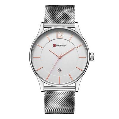 Đồng hồ nam Curren dây xích có lịch màu trắng