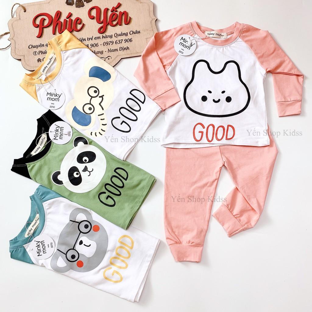 Sale !!! Bộ Dài Minky Mom Cotton 100 %  Phối Tay In Họa Tiết Voi-Good Cho Bé_Super Sale ( 9-19kg) (1314)