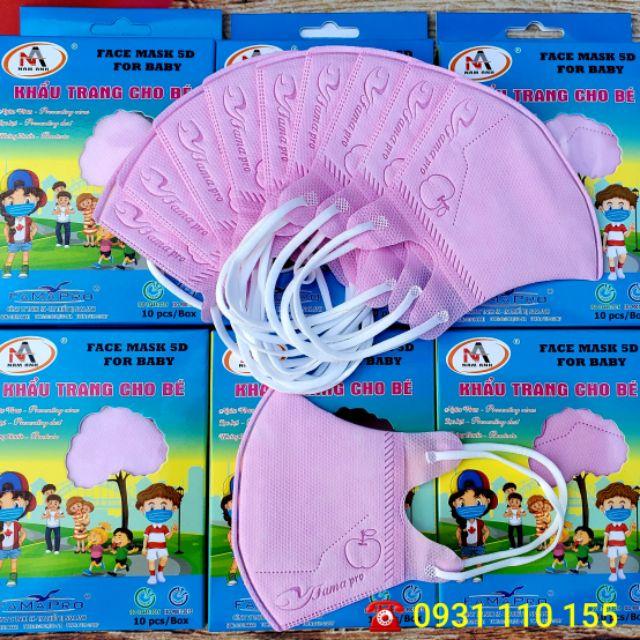 Hộp 10 khẩu trang trẻ em chính hãng Nam Anh Famapro hồng