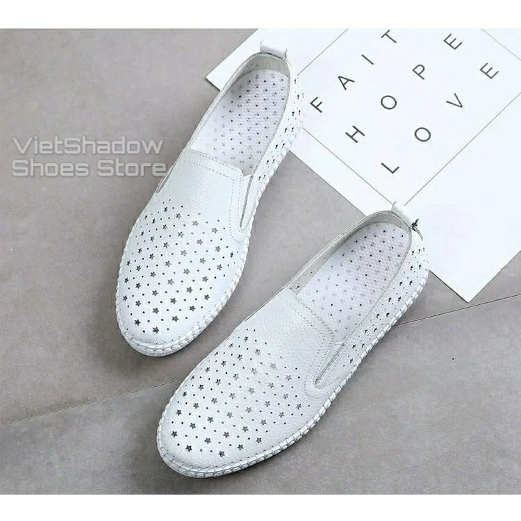 Slip on da nữ - Giày lười da nữ đột lỗ đế khâu - Chất liệu bò 2 màu (đen) và (trắng) - Mã SP 2026N