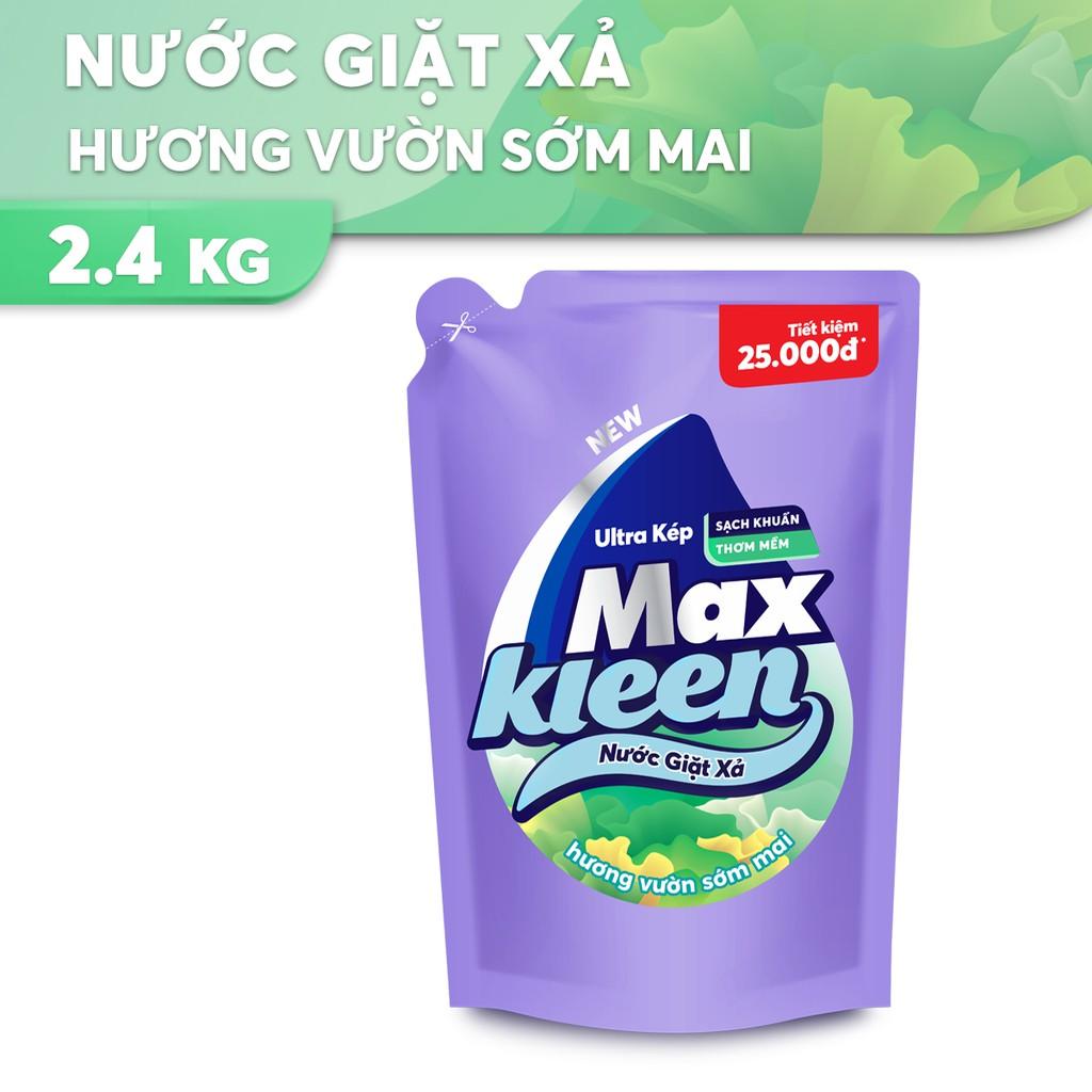 Túi Nước Giặt Xả MaxKleen Hương Vườn Sớm Mai 2,4kg