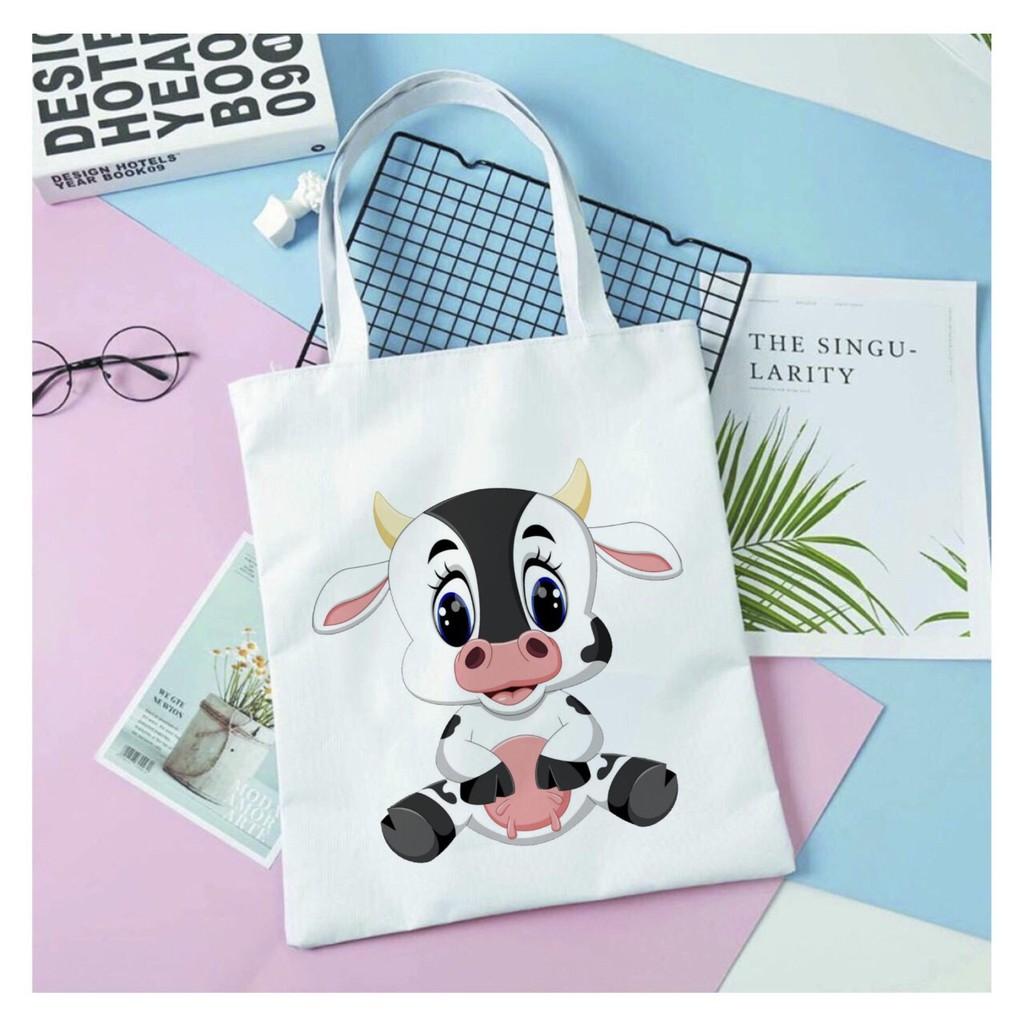 Túi Tote Vải Canvas đeo vai bò sữa - Hàn Quốc Có Khóa Miệng Túi