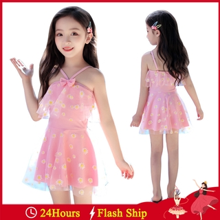 Pink Princess Girls Swim Dress Kids Swimwear Children Swimsuits One Piece Bodysuits Baby Beach Bathing Suits Ruffle Skirted Swimsuit Swimwear