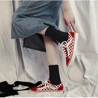 Giày thể thao canvas họa tiết caro phong cách Hàn Quốc thời trang cho nam nữ