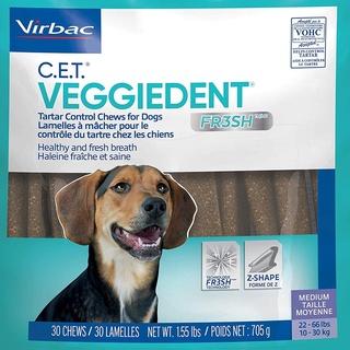 [DINH DƯỠNG CAO] Túi 15 Thanh Nhai Sạch Răng, Thơm Miệng Cho Chó Virbac Veggiedent Fresh thumbnail